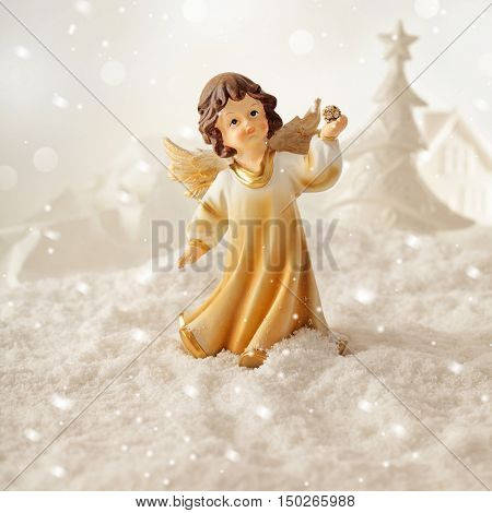christmas ornament angel and christmas lights