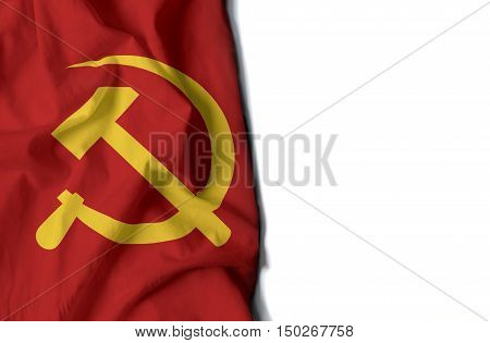 Sickle And Hammer Wrinkled Flag, Space For Text