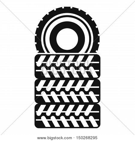 Pile of tires icon in simple style on a white background vector illustration