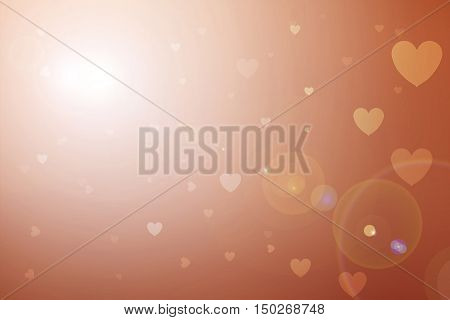 Blurred background of Valentine's day concept. Valentines Day Card. Pastel color tones.Orenge white hearts .