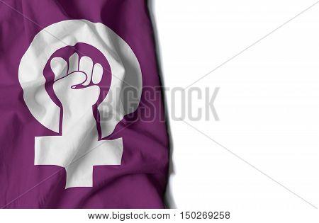 Feminism Wrinkled Flag, Space For Text