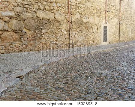 Travel Destination: Medieval Cobblestone Road in Girona, Spain