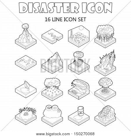 Disaster icons set in outline style. Catastrophe and crisis set collection vector illustration