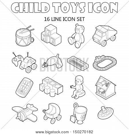 Child toys icons set in outline style. Kids games set collection vector illustration