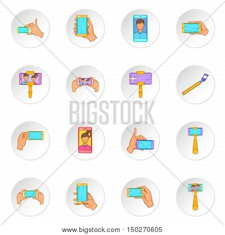 Selfie icons set in cartoon style. Taking photos with smartphones set collection vector illustration