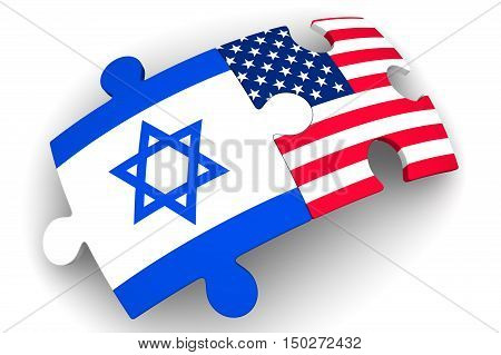 Cooperation between the United States of America and Israel. Puzzles with flags of the United States of America and Israel on a white surface. The concept of coincidence of interests in geopolitics. Isolated. 3D Illustration