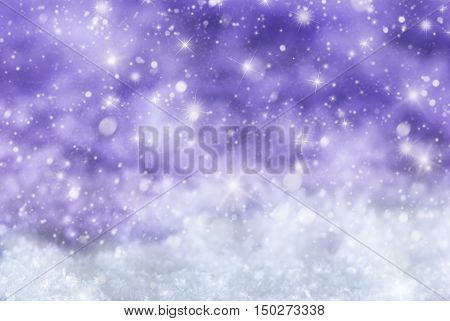 Christmas Texture With Sparkling Stars. Snow And Snowflakes With Pruple Background. Copy Space For Advertisement. Card For Seasons Greetings