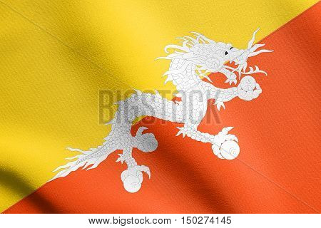 Bhutanese national official flag. Patriotic symbol banner element background. Accurate dimensions. Correct size colors. Flag of Bhutan waving in the wind with detailed fabric texture, 3d illustration