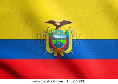 Ecuadorian national official flag. Patriotic symbol banner element background. Accurate dimensions. Correct size colors. Flag of Ecuador waving in the wind with detailed fabric texture, 3d illustration