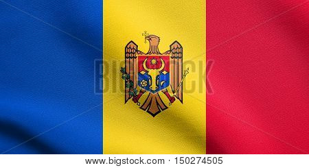 Moldovan national official flag. Patriotic symbol banner element background. Accurate dimensions. Correct size colors. Flag of Moldova waving in the wind with detailed fabric texture, 3d illustration
