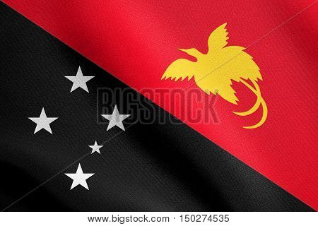 Papua New Guinean national official flag. Papuan patriotic symbol banner element background. Accurate dimension. Correct size colors. Flag of Papua New Guinea wavy in wind detailed fabric texture, 3d illustration