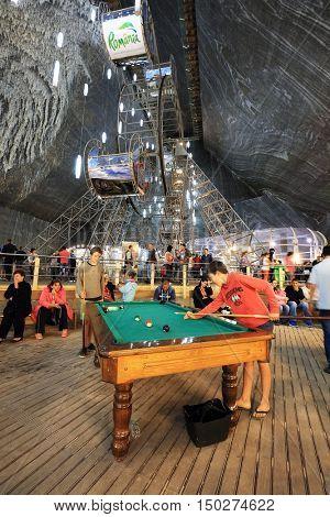 TURDA, ROMANIA - AUGUST 19TH 2016 - Inner view of Turda Salt Mine, wellknown landmark in Transylvania, Romania, Europe