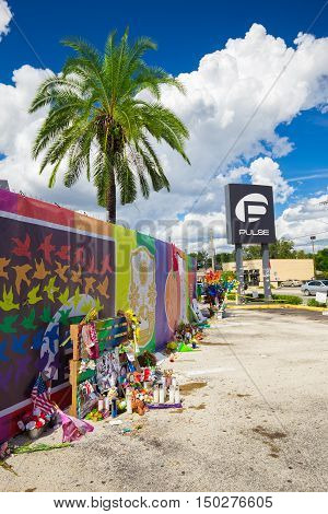ORLANDO, FL/USA. OCTOBER 1, 2016. Place where Omar Mateen, killed 49 people and wounded 53 others in a terrorist attack/hate crime inside Pulse, a gay nightclub in Orlando, Florida, United States.