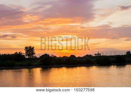Wonderful sunset on Pakpanang River ,Nakhon Si Thammarat ,Thailand