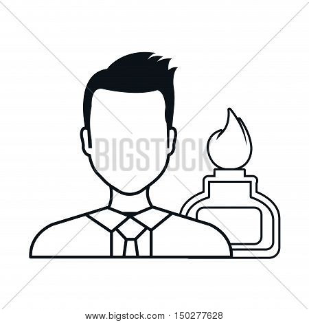 avatar man doctor with laboratory burner silhoutte. vector illustration