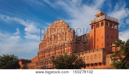 Palace Of Winds Constructed Of Red And Pink Sandstone