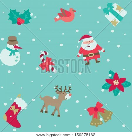 Christmas pattern. Vector seamless background with Santa and Christmas  decorations at retro style.