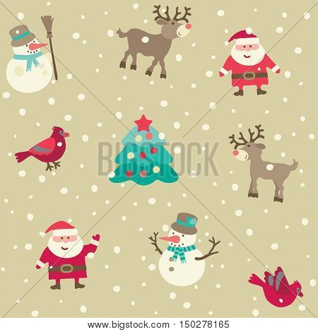 Christmas pattern. Vector seamless backgrpund with Santa and Christmas  decorations at retro style.