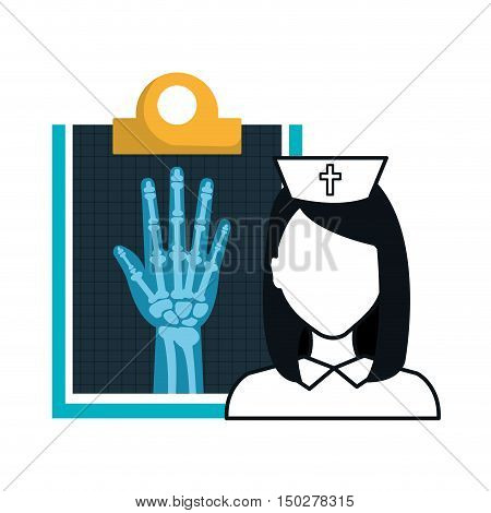X ray digital medical healthcare radiology and avatar woman nurse. vector illustration
