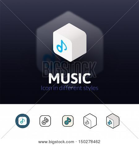 Music color icon, vector symbol in flat, outline and isometric style isolated on blur background