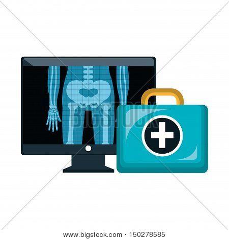 X ray digital  radiology and kit medical healthcare. vector illustration
