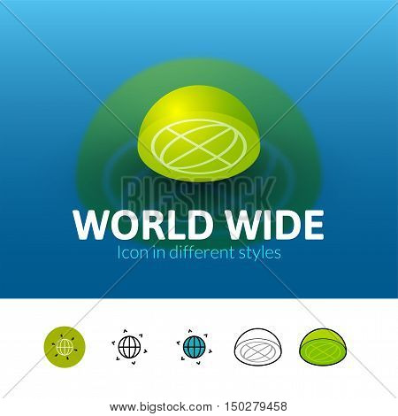 World wide color icon, vector symbol in flat, outline and isometric style isolated on blur background
