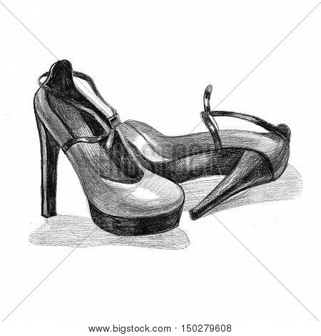 Black high heel woman shoe image. Picture with black heel logo. Beautiful black high heel shoes on white background