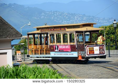 SAN FRANCISCO - MARCH 14: Antique Cable Car in Fisherman's Wharf on March 14th, 2014 in San Francisco, California, USA.