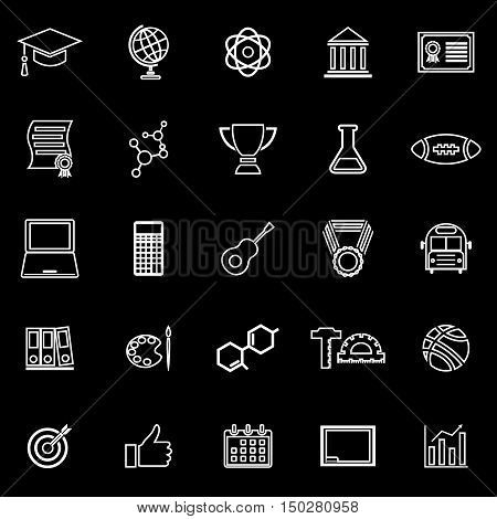 College line icons on black background, stock vector