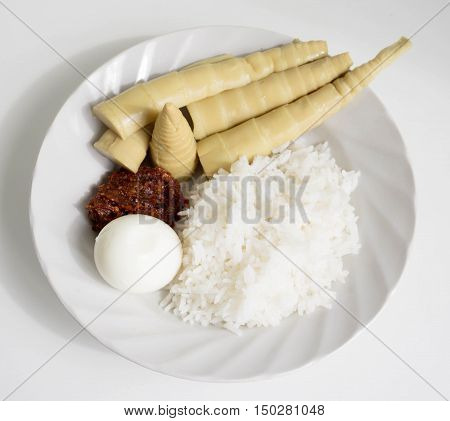 Thai Food ,chill Paste (nam-prig) Eaten With Rice Bamboo Shoot And Egg.