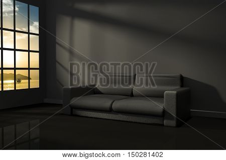 3D Rendering : illustration of interior room of modern black feeling with modern leather sofa furniture at the middle of room ,morning or sunset light,seaview,sunset at the sea