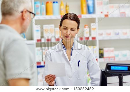 medicine, pharmaceutics, health care and people concept - pharmacist reading prescription and senior man at drugstore cash register poster