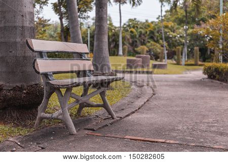 Wooden Park Bench Under  Trees. Vintage Tone .