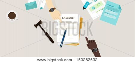 lawsuit paper hands pen gavel on desk vector