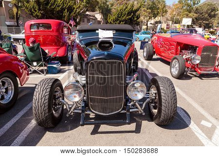 Laguna Beach, CA, USA - October 2, 2016: Black 1932 Ford B Roadster displayed at the Rotary Club of Laguna Beach 2016 Classic Car Show. Editorial use.