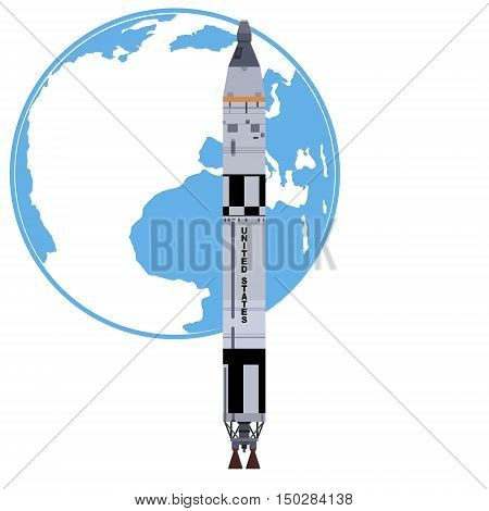 Booster Titan-2 on the background of the planet Earth. The illustration on a white background.
