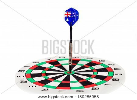 Darts arrow with Australia flags on dart board white background