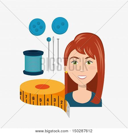 avatar woman smiling with sewing accessories. colorful design. vector illustration
