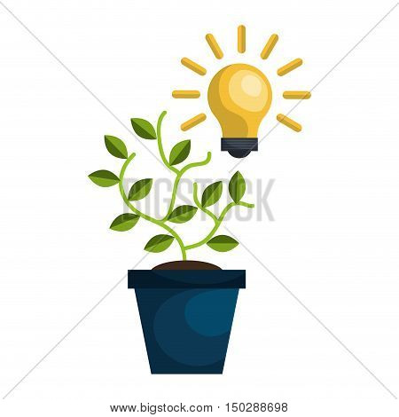 green plant in a pot and bulb light idea. vector illustration
