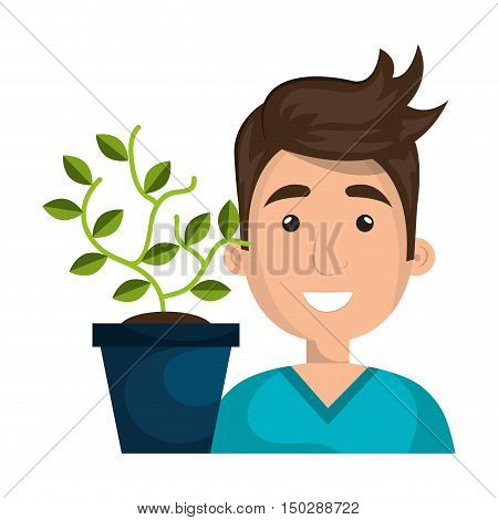 avatar man smiling and green plant in a pot. vector illustration