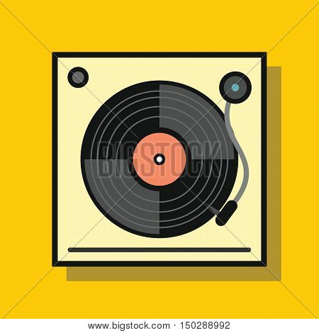 Audio vinyl player in flat style with shadow. Vector illustration
