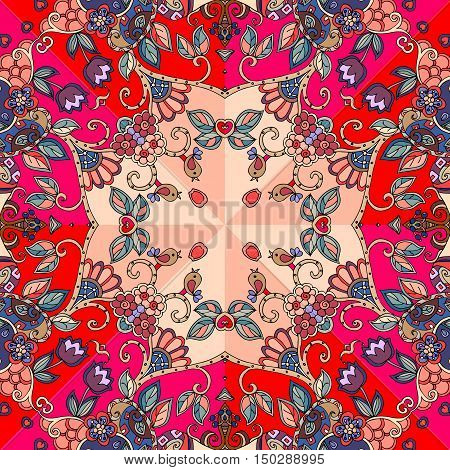 Decorative floral ornament. Can be used for cards, bandana prints, kerchief design, tablecloths and napkins. Vector illustration.