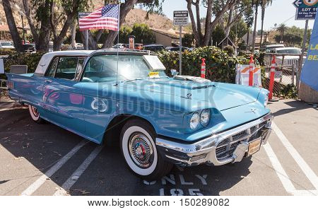 Laguna Beach, CA, USA - October 2, 2016: Blue 1963 Ford Thunderbird displayed at the Rotary Club of Laguna Beach 2016 Classic Car Show. Editorial use.