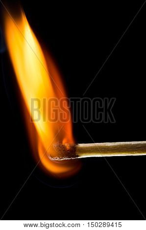 Matchstick burning and isolated on black background