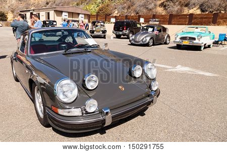 Laguna Beach, CA, USA - October 2, 2016: Silver 1973 Porsche 911 owned by Jim Liberty and displayed at the Rotary Club of Laguna Beach 2016 Classic Car Show. Editorial use.