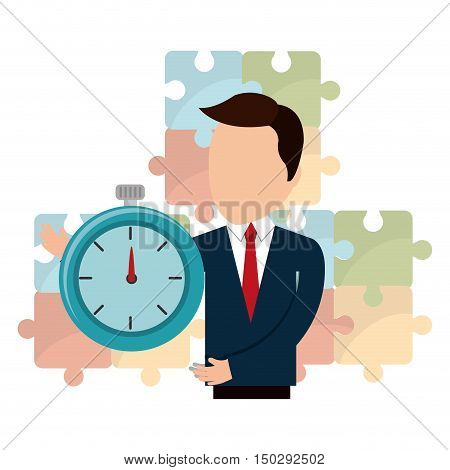 avatar businessman wearing suit and tie with chronometer time device. vector illustration