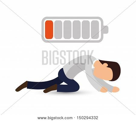 avatar man and low battery power energy. vector illustration