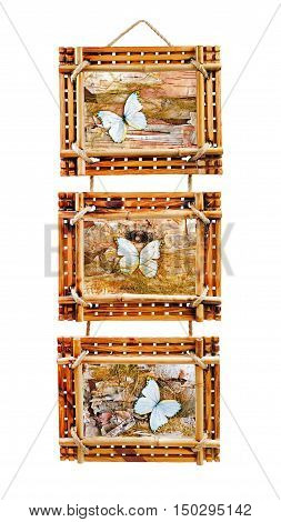 Three bamboo photo frames with abstract composition of butterflies, birch bark and straw isolated on white background