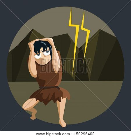 nature horrors, ancient man afraid of lightning - funny cartoon vector illustration
