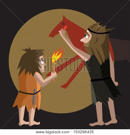 primitive art origins cartoon illustration - funny vector cartoon illustration